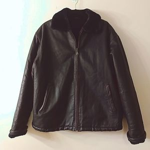Infinito Navy Leather Fur Lined Jacket, Size XL